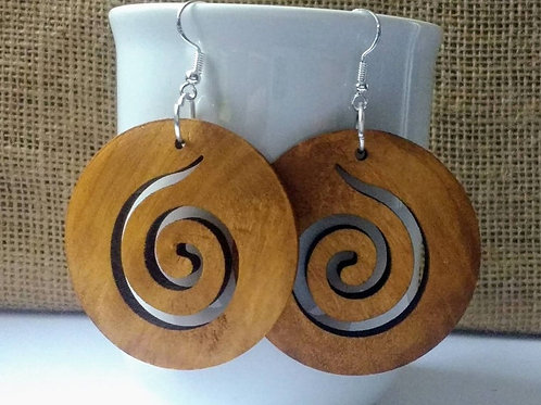 Wooden Spiral Earrings with Sterling Silver Hooks