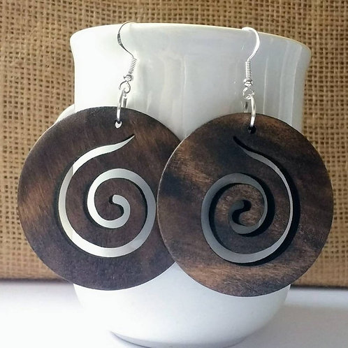 Brown Wooden Spiral Earrings with Sterling Silver Hooks