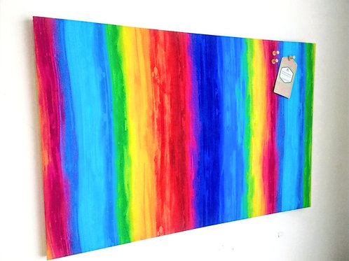 Rainbow Fabric Bulletin Notice Cork Board