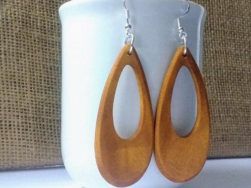 Wooden Teardrop Earrings with Sterling Silver Hooks