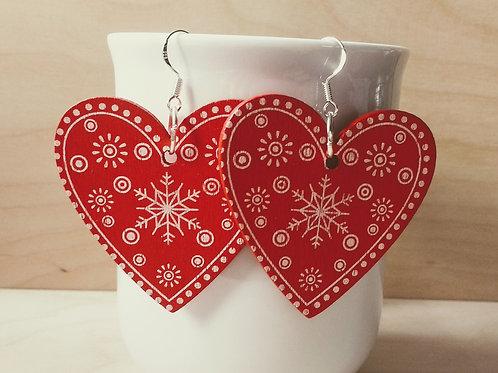 Red Wooden Heart Christmas Festive Earrings
