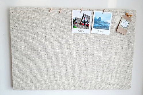 Peg and String Cream White Hessian Cork Board
