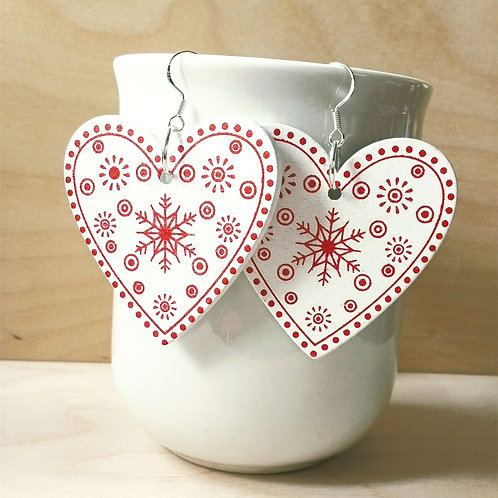 Wooden Heart Christmas Festive Earrings