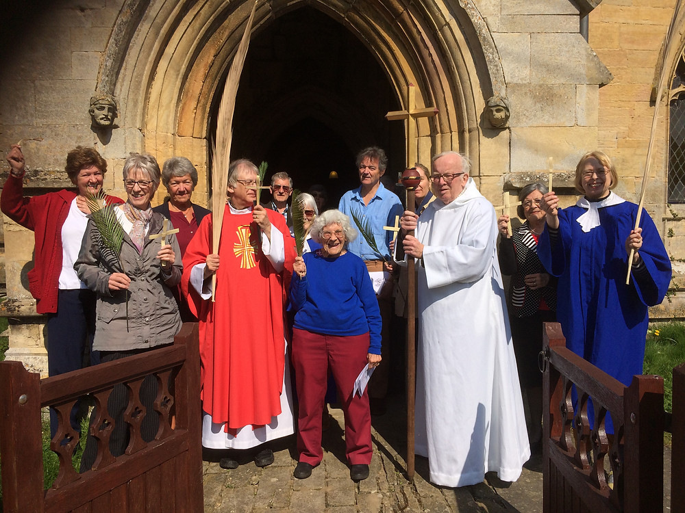 We started our Holy Week pilgrimage round the parish at Swarby and Aunsby on Palm Sunday.  At Aunsby we walked round the church carrying palms and palm crosses, to remember Jesus' entry into Jerusalem.