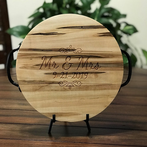 Round Wooden Tray With Metal Handles, Mr & Mrs