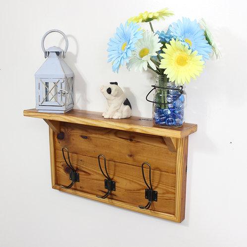 Farmhouse Coat Rack, With Shelf, 3 Brass Hooks