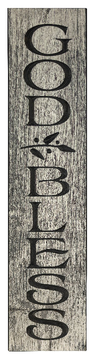 God Bless, 2' Vertical Wood Sign