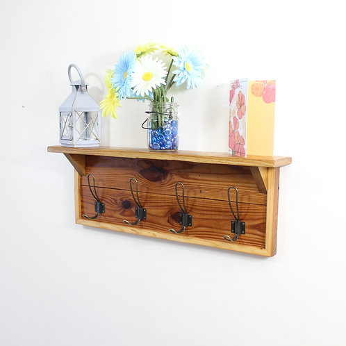 Rustic Coat Rack, With Shelf, 4 Coat Hooks