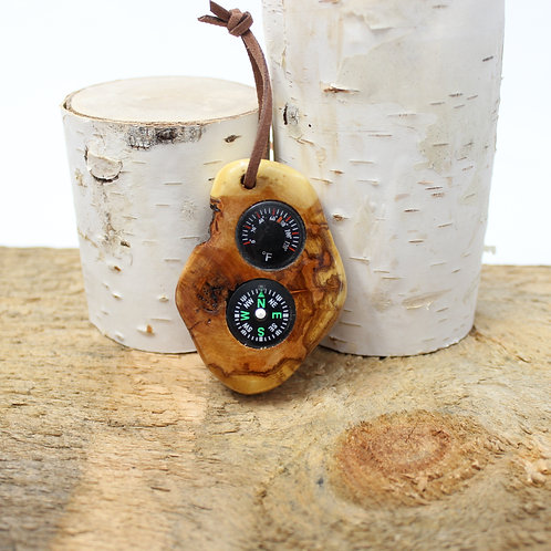 Wooden pocket compass and thermometer in diamond willow wood