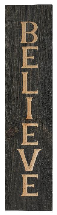 Believe, 2' Vertical Wood Sign