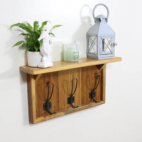 Rustic Coat Rack, With Shelf, 3 Brass Hooks