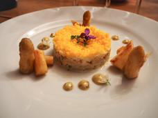 Tartare d'asperges et de thon au cumin et oeufs façon mimosa