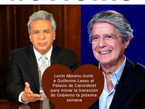 Lenín Moreno invitó a Guillermo Lasso al Palacio de Carondelet para iniciar la transición