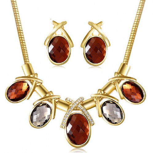 Occident luxury crystal gems concise all match earrings necklace set