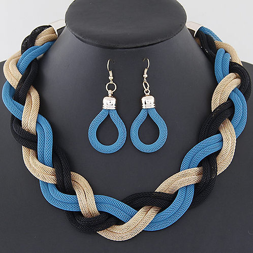 Occident metal concise woven earrings and necklace set ( blue + gold + black )