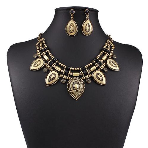 Vintage alloy water-drop necklace set(gold)