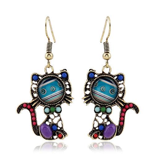 Fashion sweet kitty colorful gems earrings ( sea blue )