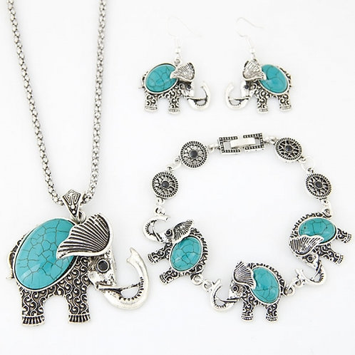 Metal Inlaid Turquoise cute Elephant Necklace Set(blue)