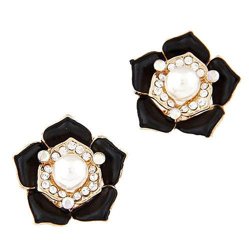 Exquisite Sweet rich flower earrings ear studs ( black )