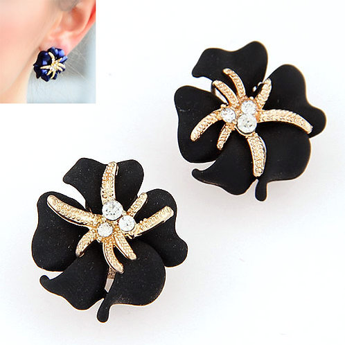 Metal Sweet rich flower starfish unique ear studs /earrings ( black )