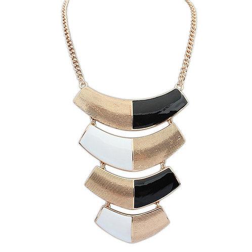 Occident unique metal statement necklace ( black + white )