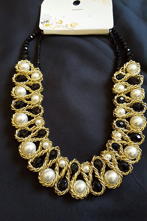 Handmade woven black and white gorgeous statement necklace