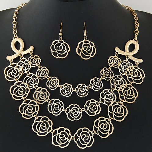 European and American fashion metal hollow rose exaggerated Necklace Earrings Se