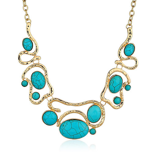 Concise fashion fresh turquoise metal necklace ( sea blue )