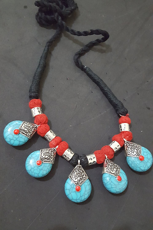 Turquoise Glass bead handmade short necklace with german silver