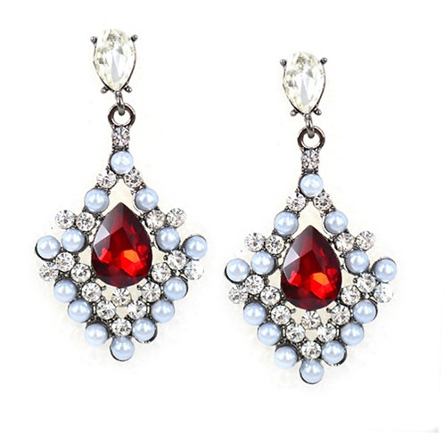 Red easy match pave setting gem and pearl Danglers