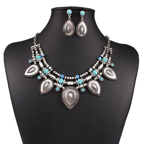 Vintage alloy water-drop necklace set(silver)
