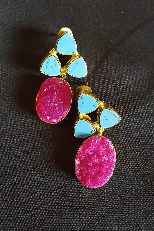 Designer agate with marble in brass setting fashion earrings
