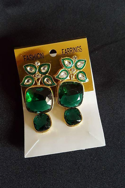 Emerald Green Fashion cocktail stylish earrings
