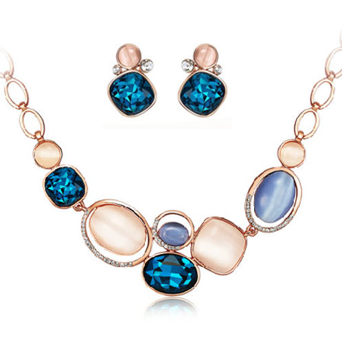 Occident fashion metal shining luxury gem concise necklace ear studs set