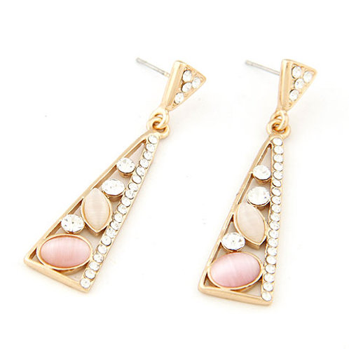Elegant concise the cat's eye triangle shape ear studs