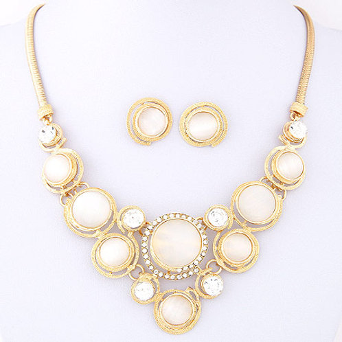 Occident fashion metal shining cat's eye set earrings necklace ( gold )