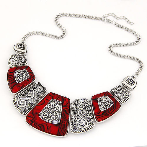 Occident fashion hollow out style geometry fan shaped necklace ( silver + red )