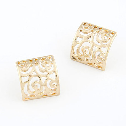 Exquisite Sweet hollow out square ear studs