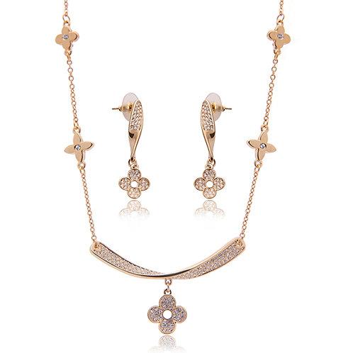 Elegant setting gem flower pendant necklace set
