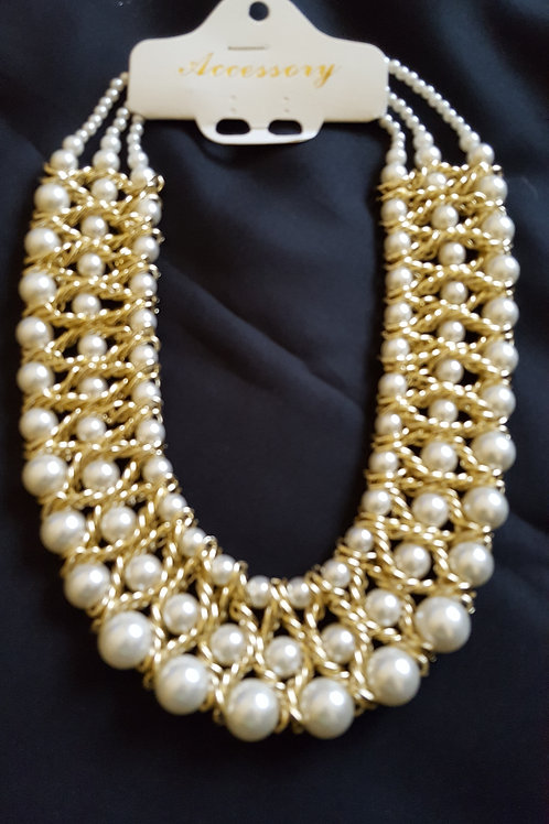 Handmade handwoven pearl white statement necklace