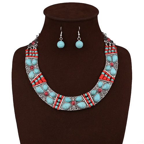 Occident handmade woven turquoise earrings necklace set