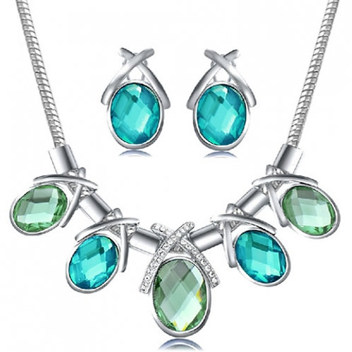 Exquisite luxury crystal concise gem graceful necklace earrings set ( silver ton