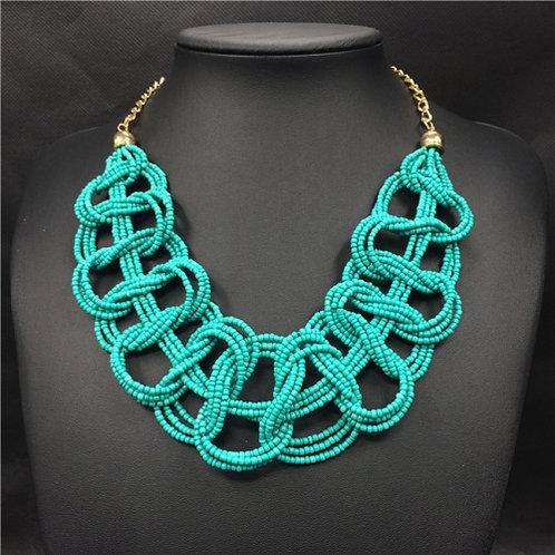 Handwoven Beaded Geometric Choker Necklace (blue-green)