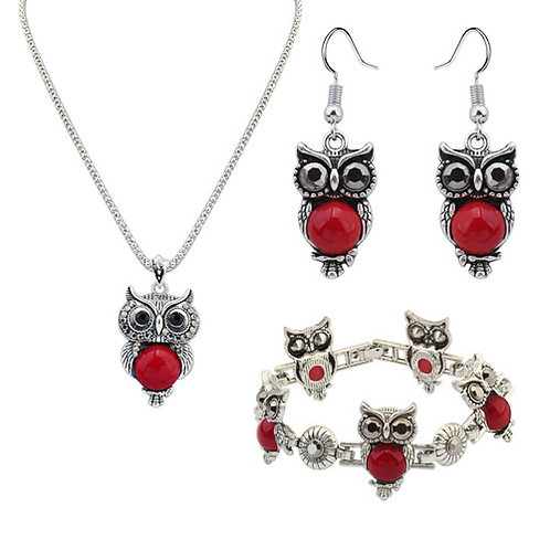 Metal Inlaid Turquoise cute Owl Necklace Set(red)