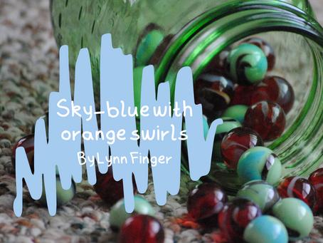 Sky-blue with orange swirls, Lynn Finger