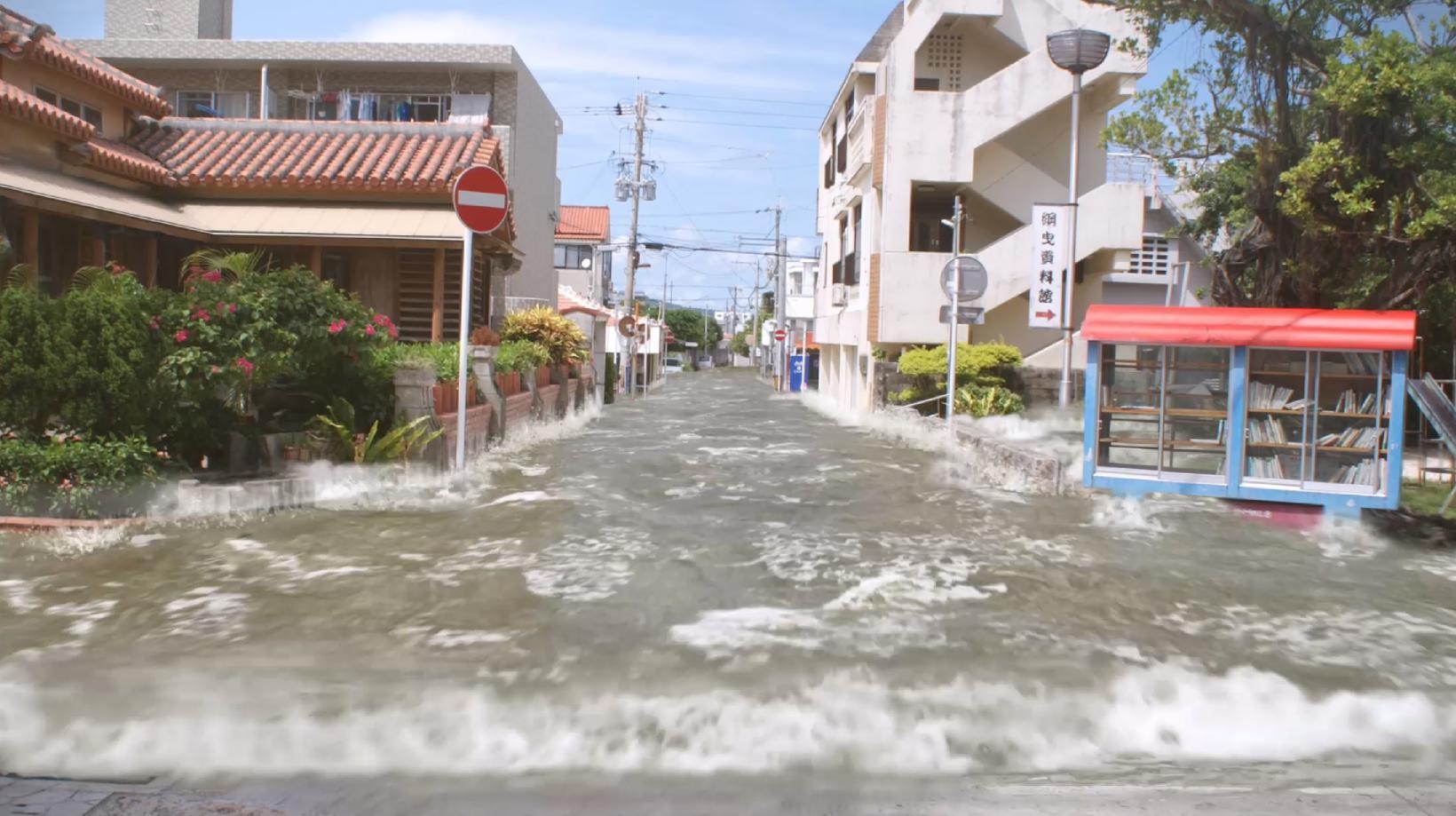 町に流れ込む津波