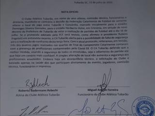 Nota oficial do Clube Atlético Tubarão