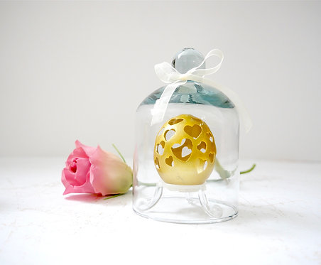Golden Hearts  carved on a chicken/duck egg, sealed in glass
