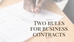 Two Rules for Business Contracts