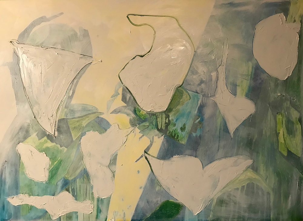 Oil Painting with white paint over colored paint